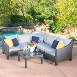 Antibes 6pc Wicker V-Shaped Sectional Sofa Set - Christopher Knight Home
