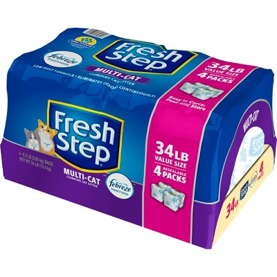 Fresh Step Multi-Cat with Febreze Freshness - Clumping Cat Litter - Scented - 34lbs