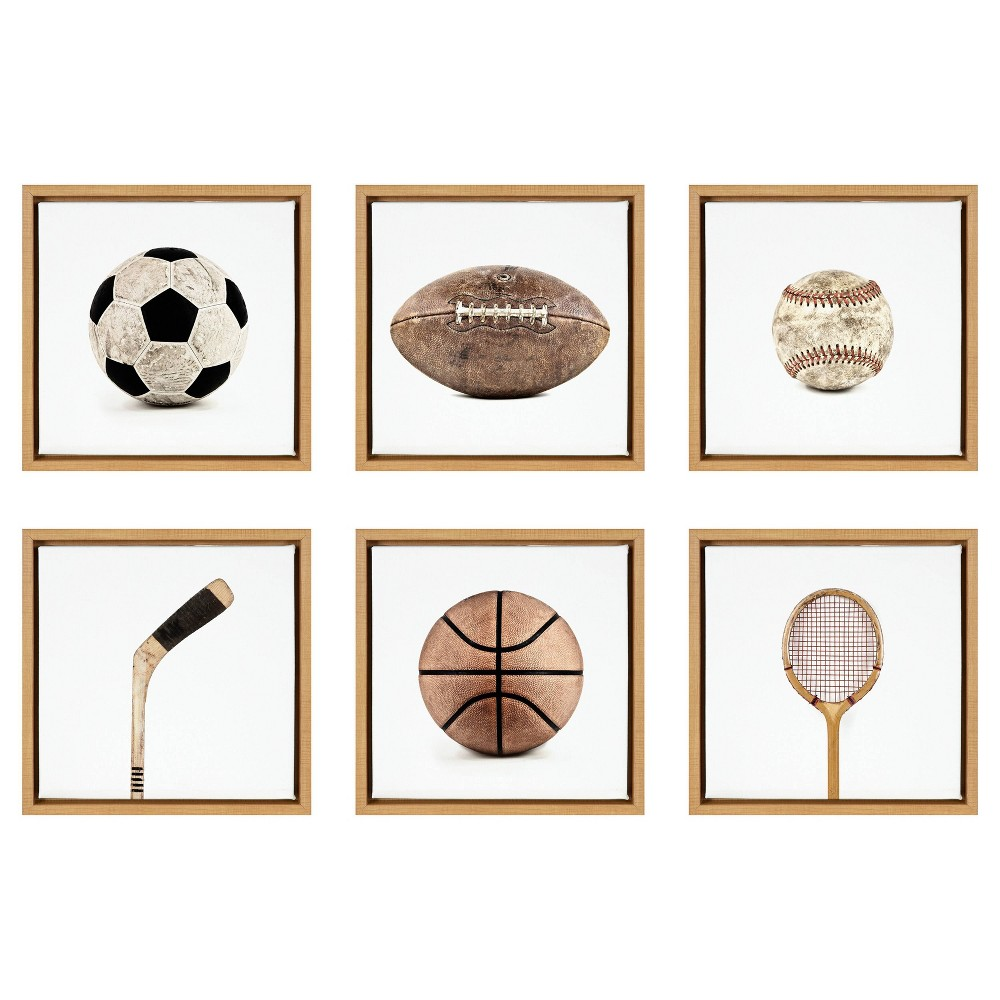 6pc 13 34 X 13 34 Sylvie Sports Gear Framed Canvas Set By Shawn St Peter Natural Designovation