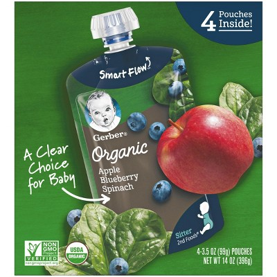Gerber Organic 2nd Foods Baby Food, Apple Blueberry Spinach - 3.5oz (4pk )