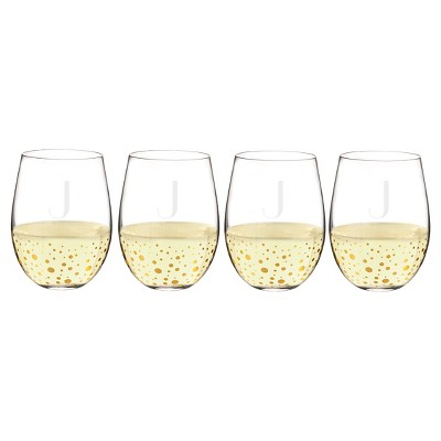 Cathy's Concepts 19.25oz Monogram Gold Dots Stemless Wine Glasses J - Set of 4