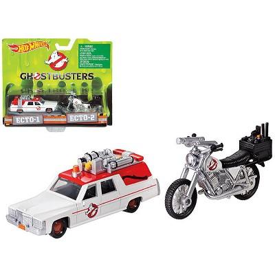 "ECTO-1 1/64 Ambulance Car & ECTO-2 1/50 Bike ""Ghostbusters"" (2016) Movie Diecast Models by Hotwheels"