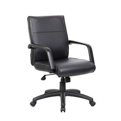 Mid Back Executive Chair in Leatherplus - Black - Boss