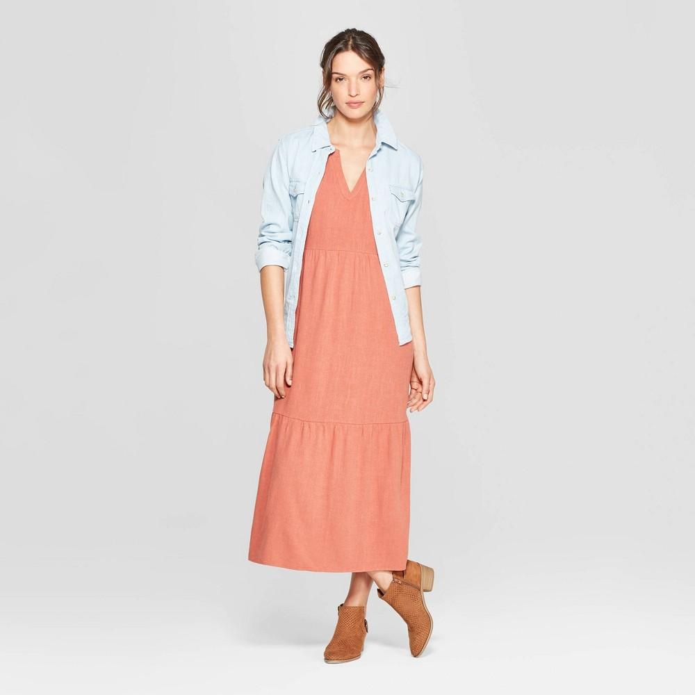 Women's Short Cap Sleeve V-Neck Midi Dress - Universal Thread Copper S, Brown