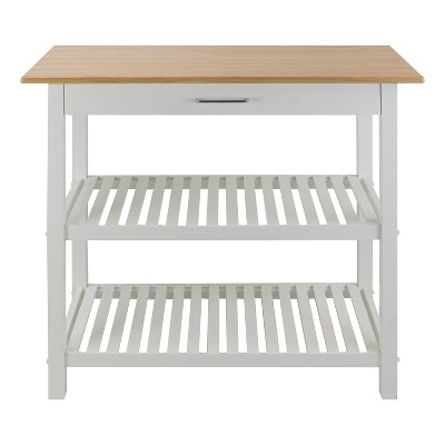 Casual Home Kitchen Island Bar Station with Hardwood Counter Top, Stainless Steel Towel Rack, 1 Large Drawer and Lower Storage, White