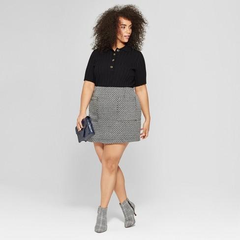 Womens Plus Size Tweed Mini Skirt Who What Wear Blackwhite Target