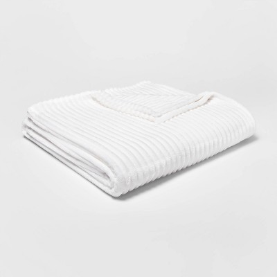 Full/Queen Ribbed Plush Bed Blanket White - Room Essentials™