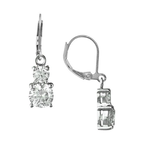 Silver Plated Cubic Zirconia Double Round Lever Back Dangle Earrings - image 1 of 1