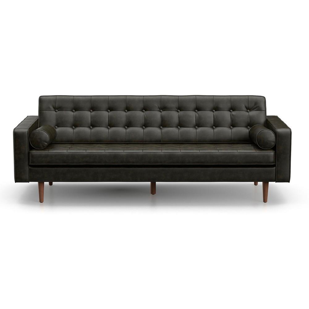 Image of Oscar Modern Tufted Faux Leather Sofa Licorice Black - AF Lifestlye