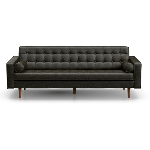 Oscar Modern Tufted Faux Leather Sofa Licorice Black - AF Lifestlye ...