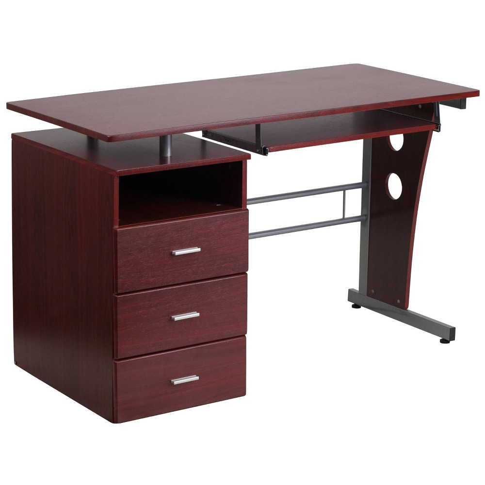 Desk with Three Drawer Pedestal and Pull - Out Keyboard Tray - Mahogany Laminate Top/Silver Frame - Riverstone Furniture Collection, Brown