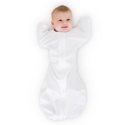 SwaddleDesigns Swaddle Sack Wearable Blanket - Sterling Polka Dots on White - M - 3-6 Months