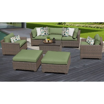 Monterey 8pc Outdoor Wicker Sectional Sofa Seating Group with Cushions - TK Classics