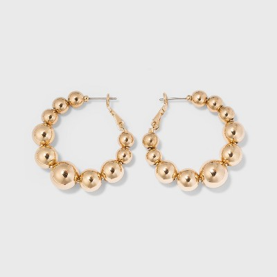 Ball Hoop Earrings - A New Day™ Gold