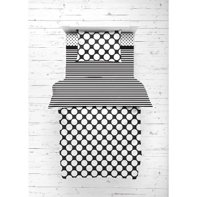 Bacati - Dots Stripes Black/White 4 pc Toddler Bedding Set