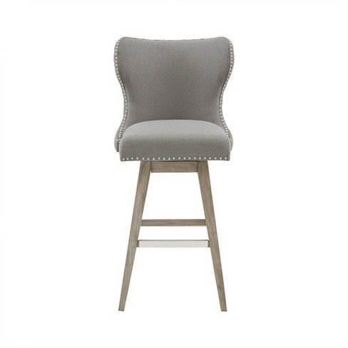 Silloth Wingback Button Tufted Swivel Bar Stool Gray Lumisource