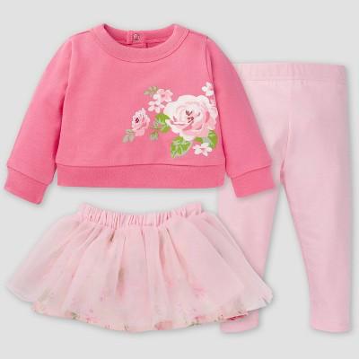 Gerber Baby Girls' 3pc Roses Skirt Set - Pink
