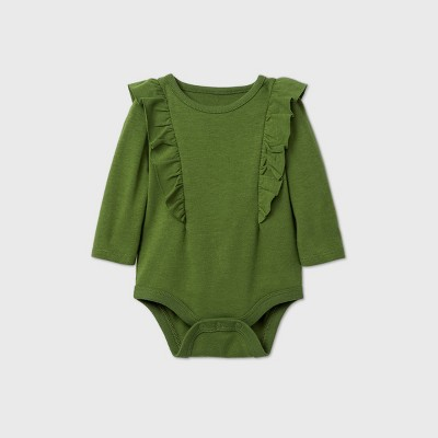 Baby Girls' Ruffle Long Sleeve Bodysuit - Cat & Jack™ Olive Newborn