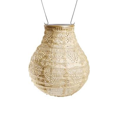 """Allsop 8"""" x 6.5"""" Soji Stella Bulb Solar Outdoor Lantern Pearl"""