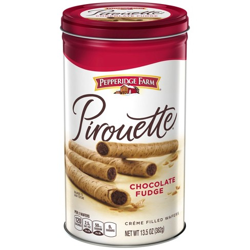 Pepperidge Farm Pirouette Crème Filled Wafers Chocolate Fudge Cookies, 13.5oz Tin - image 1 of 4
