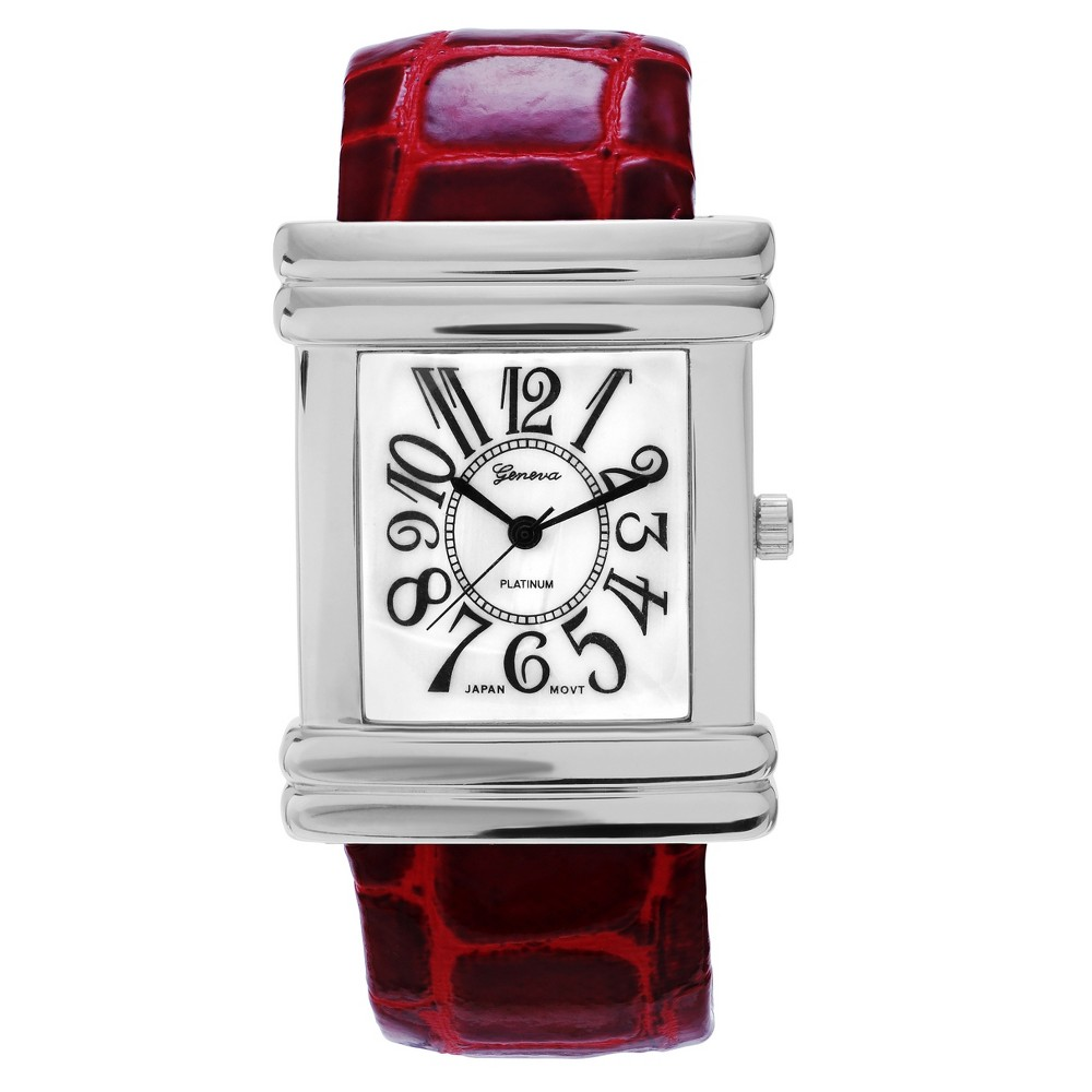 Women's Geneva Platinum Mother of Pearl Dial Square Face Adjustable Cuff Watch - Red