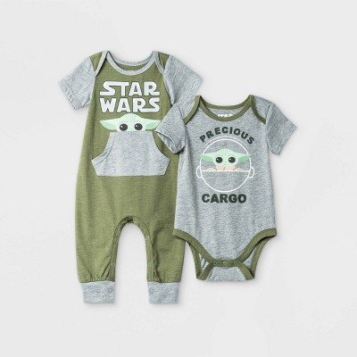 Baby Boys' 2pk Star Wars Baby Yoda Short Sleeve Romper - Olive Green 3-6M