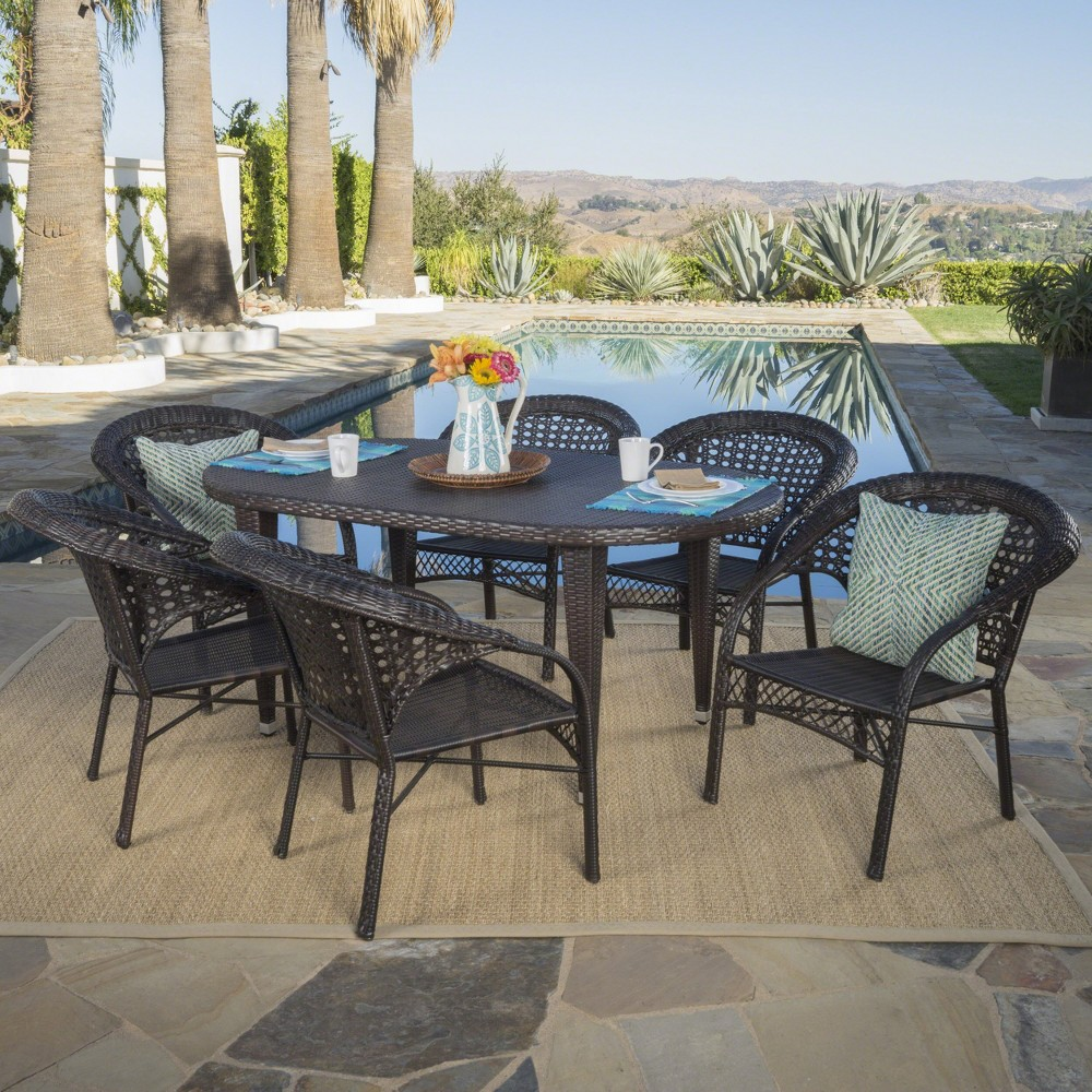 Aloha 7pc Wicker Dining Set - Brown - Christopher Knight Home