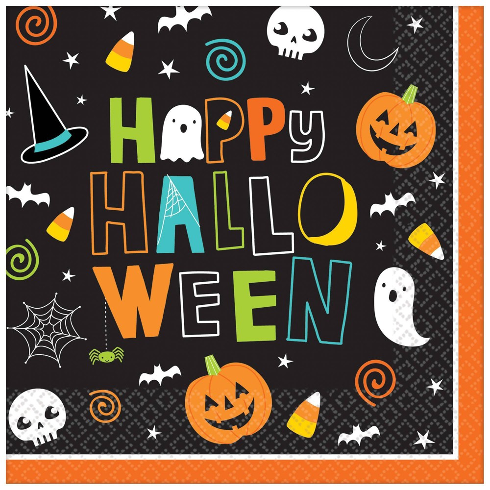 Image of 125ct Halloween Friends Luncheon Disposable Napkins