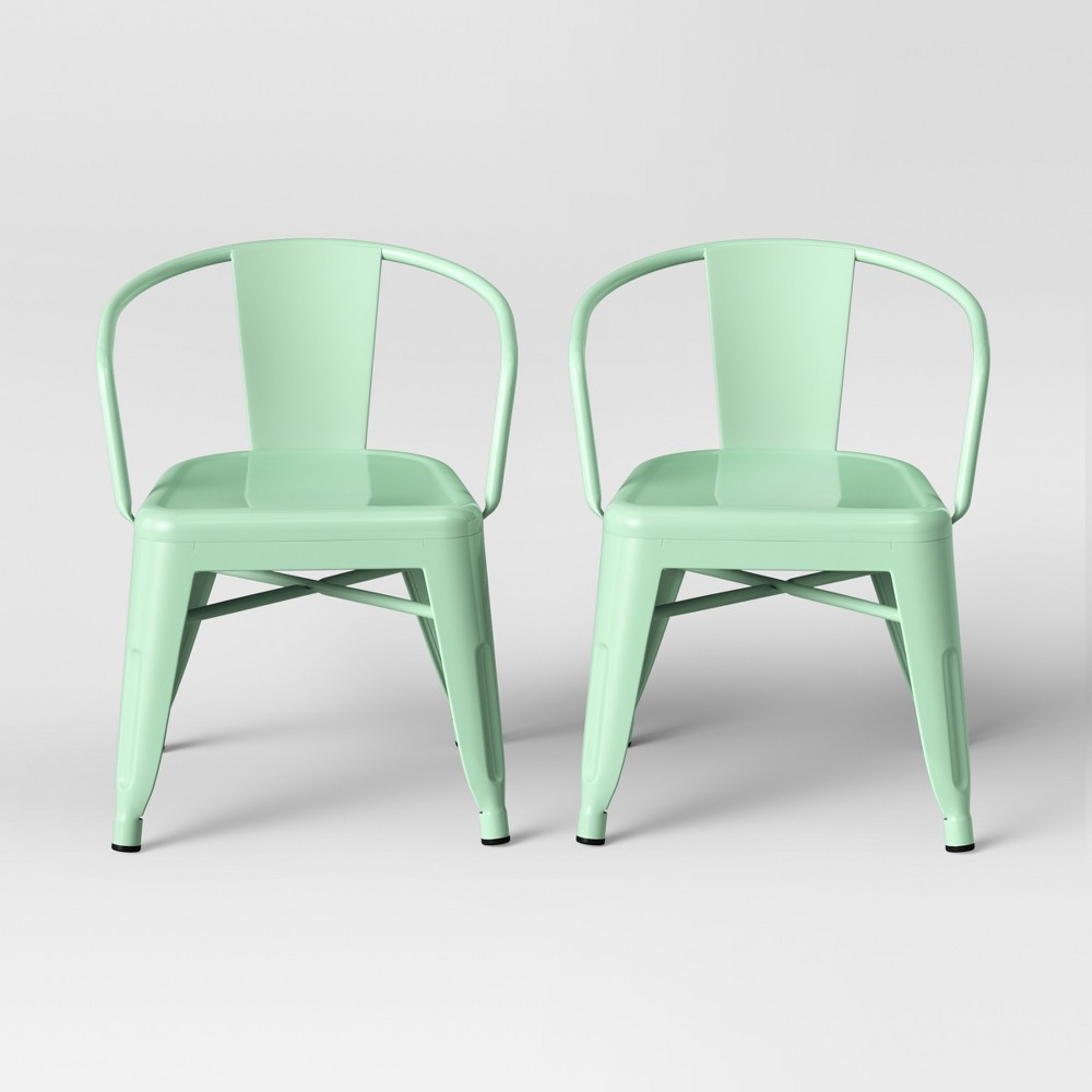 Image of Set of 2 Kids Industrial Activity Chair Mint - Pillowfort