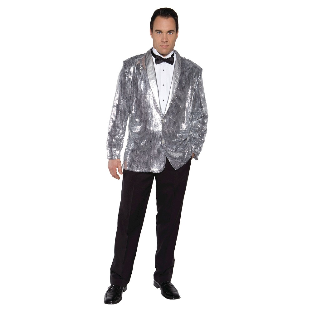 Adult Sequin Jacket Halloween Costume Silver One Size