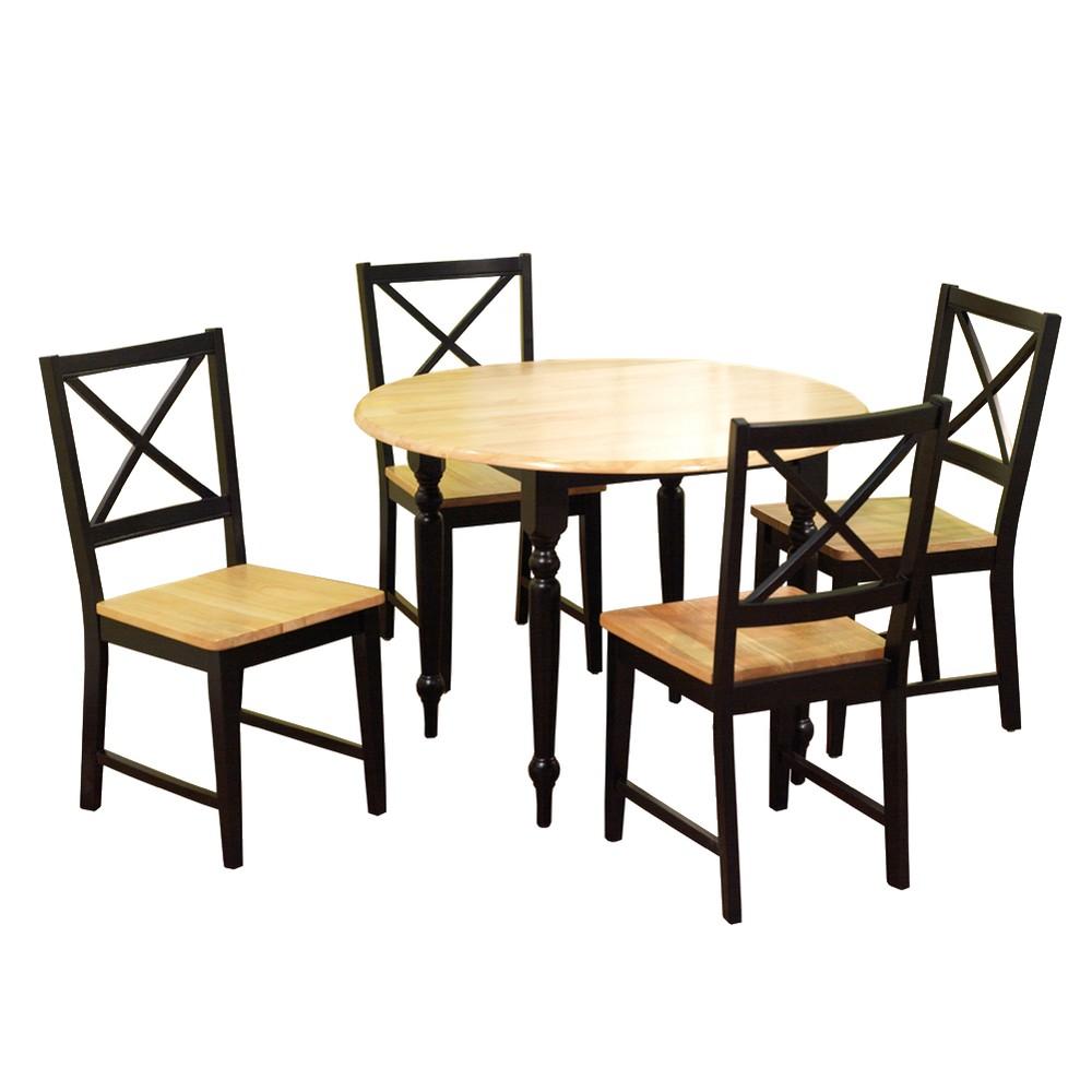 5 Piece Virginia Dining Set Wood/Black - Tms, Black/Natural