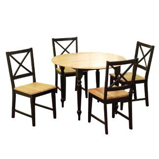 5 Piece Virginia Dining Set Wood/Black - TMS