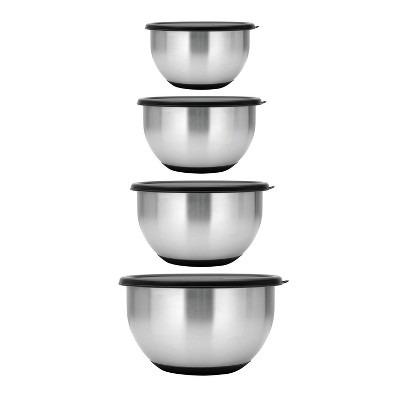 BergHOFF Geminis 8Pc 18/10 Stainless Steel Mixing Bowl Set with Lids