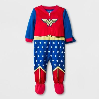 Baby Girls' Wonder Woman Blanket Sleeper - Blue 18M