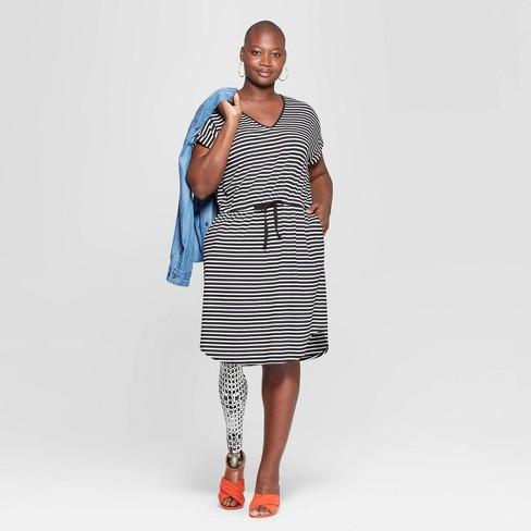 54b7640d537 Women s Plus Size Striped Short Sleeve V-Neck Knit Dress - Ava   Viv™  Black Cream   Target
