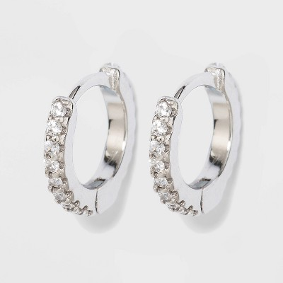 Prong Set Pave Cubic Zirconia Huggie Hoop Earrings - A New Day™ Silver
