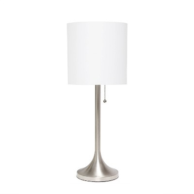 Tapered Desk Lamp with Fabric Drum Shade Silver - Simple Designs