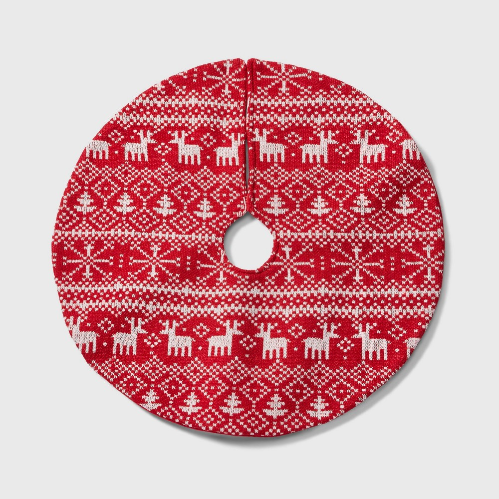 "Image of ""18"""" Mini Fair Isle Christmas Tree Skirt Red and White - Wondershop"""