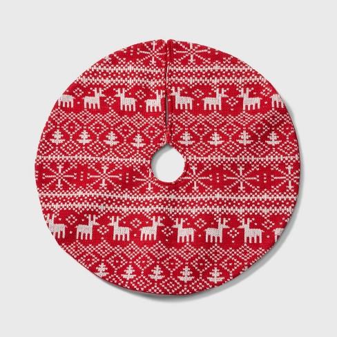 Mini Christmas Tree Skirt Pattern.18 Mini Fair Isle Christmas Tree Skirt Red And White Wondershop
