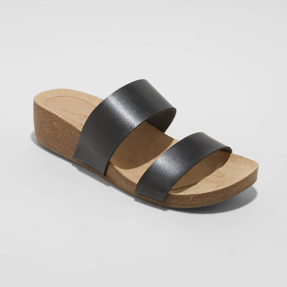 Women 39 S Kerryl Two Band Wedge Sandals Universal Thread 8482 Black 8 5
