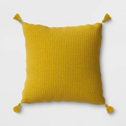 Woven Tasseled Outdoor Throw Pillow Yellow - Opalhouse™ - image 1 of 1
