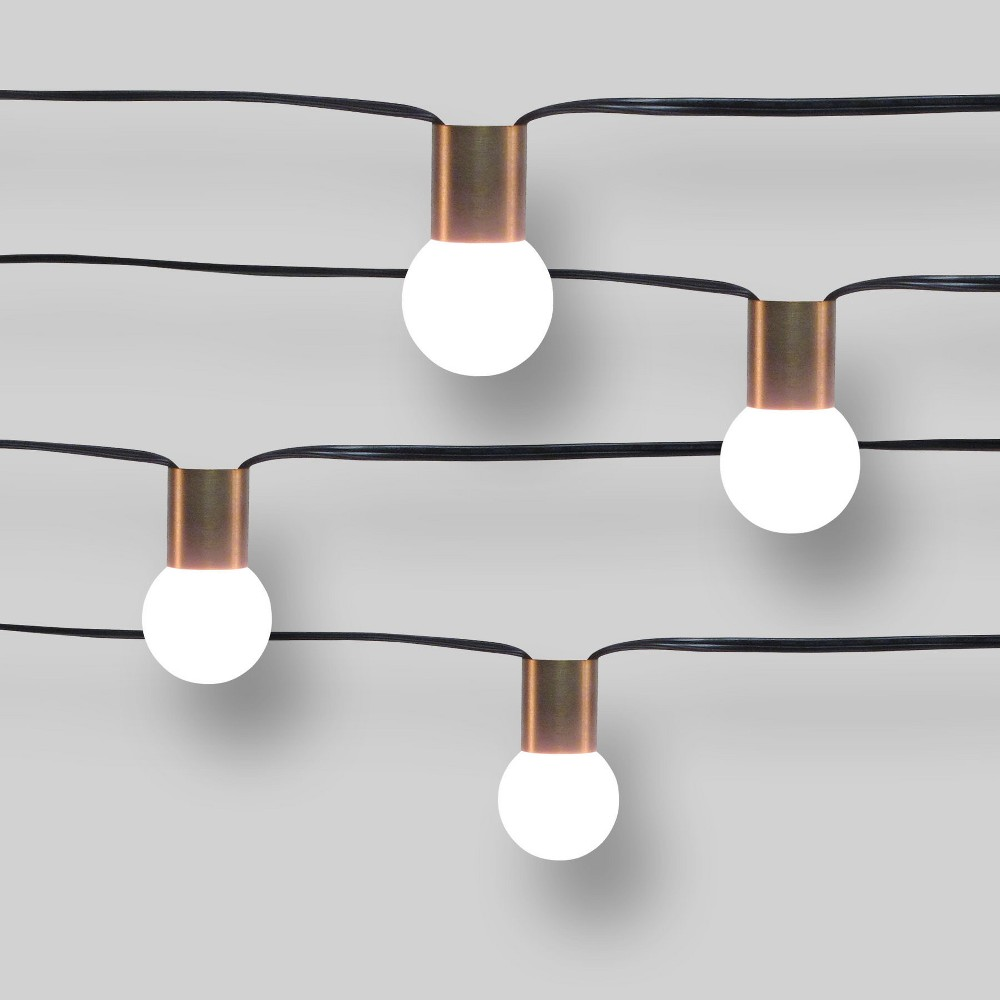 10ct Outdoor String Lights G40 Frosted Bulbs Matte Brass Collar - Project 62
