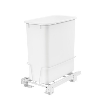 Rev-A-Shelf RV-814PB 20 Quart Pull-Out Waste Container Undermount Cabinet Garbage Bin Trash Recycling Can for Kitchen, Laundry Room, or Vanity, White