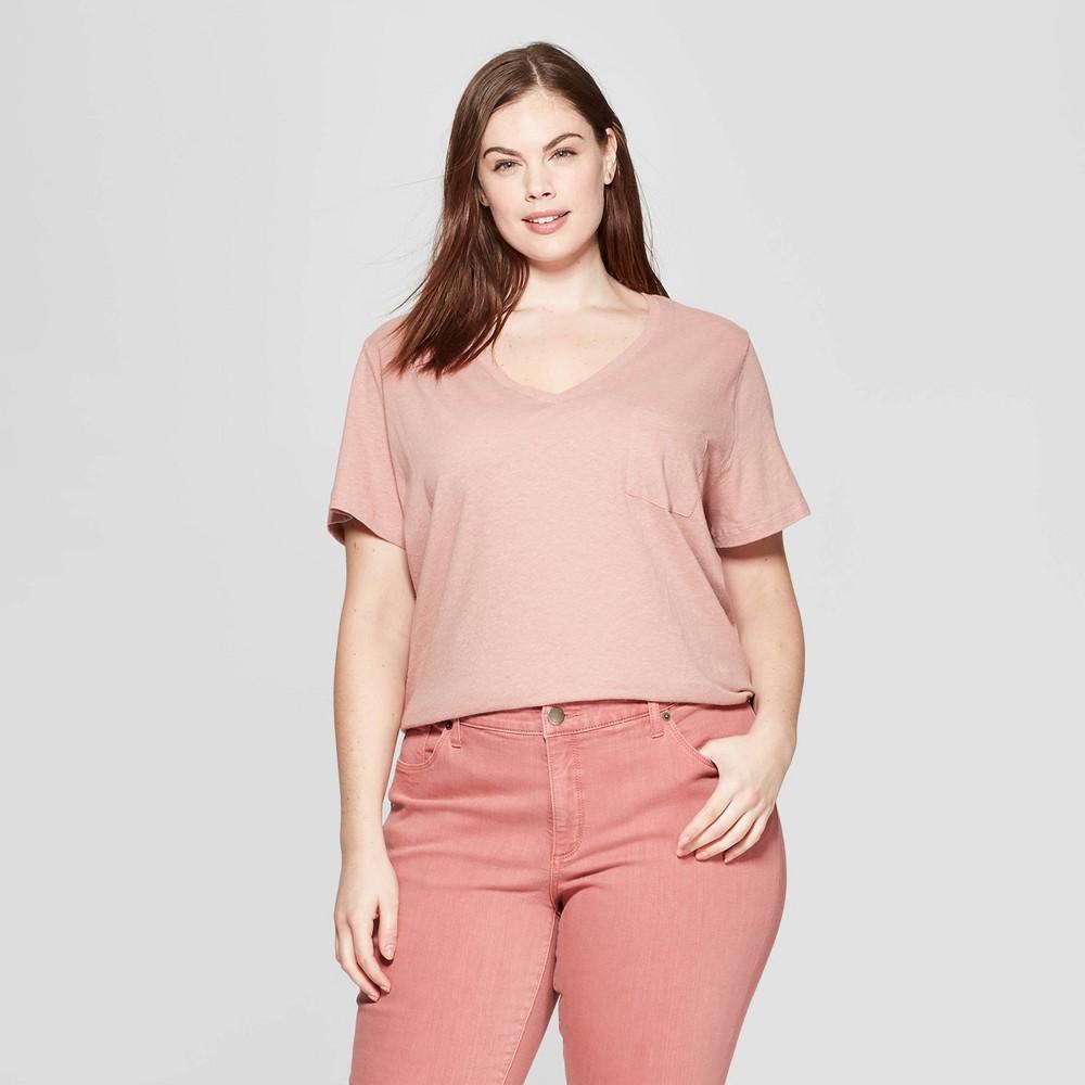 Women's Plus Size Short Sleeve Pocket V-Neck T-Shirt - Universal Thread Pink 4X