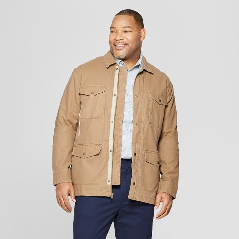 Men's Big & Tall Casual Fit Shirt Jacket - Goodfellow & Co™ Khaki - image 1 of 3