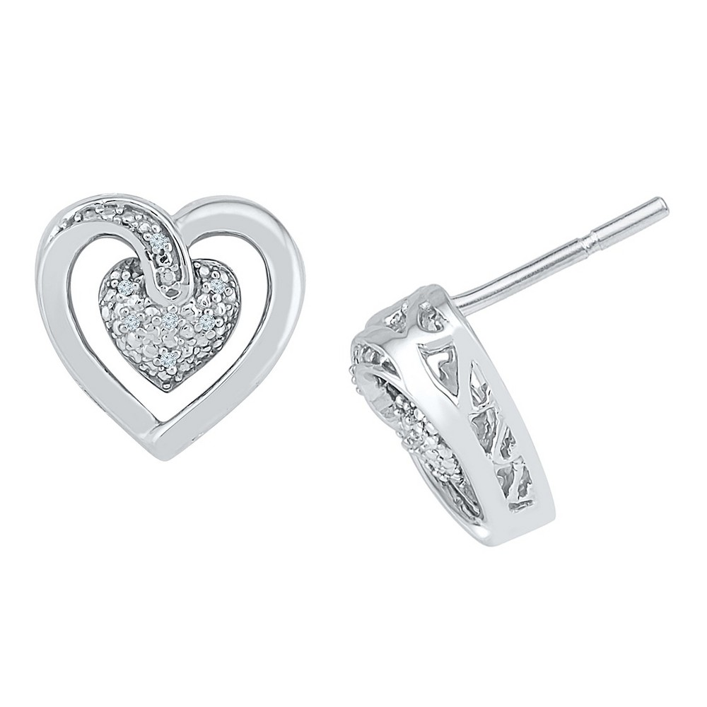 Image of 0.030 CT. T.W. Round-Cut Diamond Heart Prong Set Earring in Sterling Silver (IJ-I2-I3), Women's, White