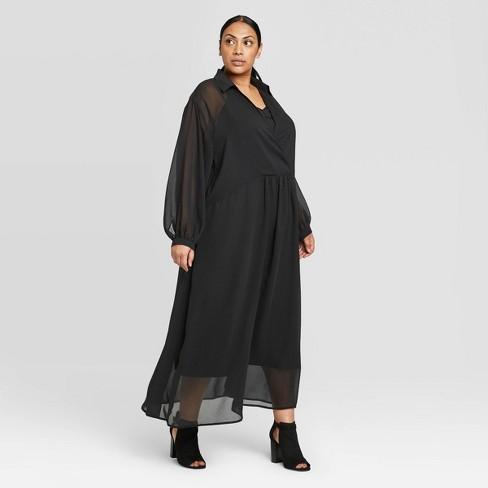 Women\'s Plus Size Long Sleeve Deep V-Neck Maxi Dress - Prologue™ Black 4X
