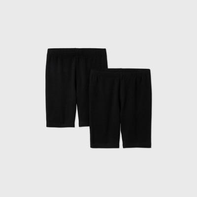 Girls' Adaptive 2pk Mid-Length Bike Shorts - Cat & Jack™ Black