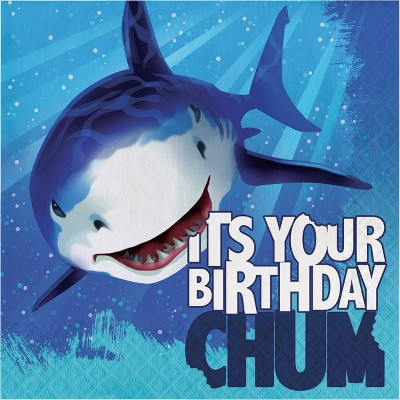 48ct Shark Splash Birthday Napkins Blue