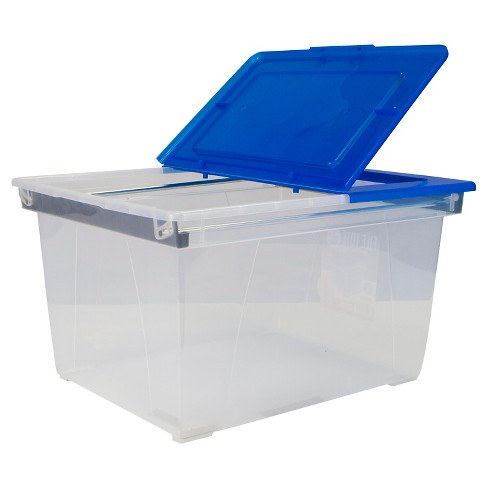 Storex® Heavy Duty File Tote with Steel Rails, 6ct - Clear with Blue Lid - image 1 of 1